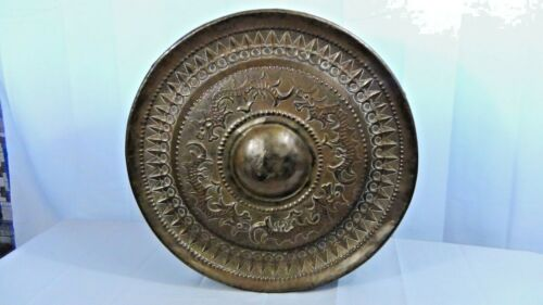 ANTIQUE 19c CHINA,SOUTH ASIA MINDANAO BRASS RELIEF DRAGONS TEMPLE RITUAL GONG,