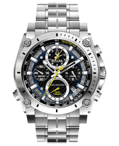 Bulova Precisionist Men's 96B175 Quartz Chronograph Black Dial 46mm Watch