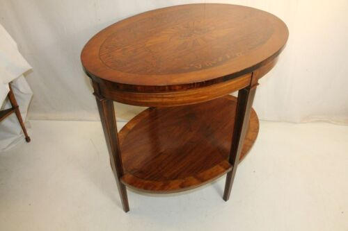 19th century Sheraton Inlaid Marquetry Rosewood & Satinwood Oval center table