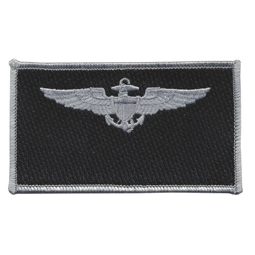 Navy Aviation Pilot Silver Wings Black Patch Patches - 36078