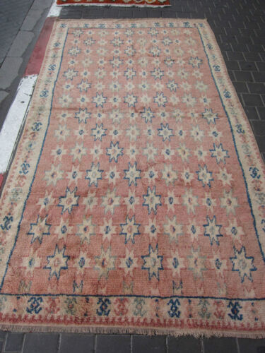 VINTAGE ANTIQUE MOROCCAN WOOL CARPET RUG HAND MADE 283x153-cm /111.4x60.2-inches