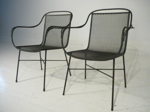 2 Hand Made Original 50's Salterini Wrought Iron Chairs Mid 20th Century Modern