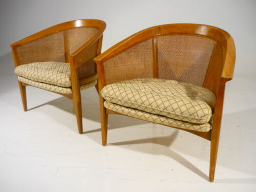 2 Mid 20th Century Modern Barrel Cane Back Lounge Chairs Vintage Probber Era