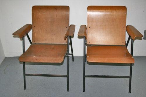 VINTAGE RUSSEL WRIGHT SAMSONITE PLYWOOD FOLDING CHAIRS MID CENTURY #1 PAIR OF 2