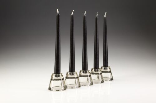 50 x 25cm Black Tapered Dinner Candles. High Quality wax. Gala candles.