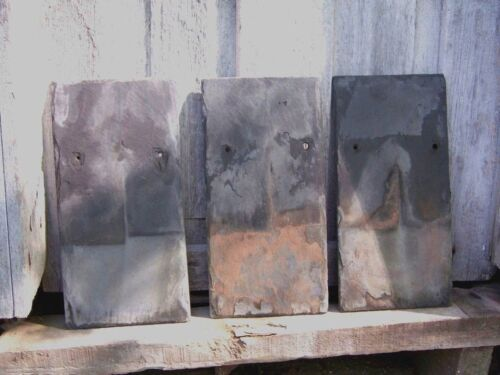 THREE ANTIQUE SLATE GRAY ROOF SHINGLES ART PAINTING DECOR CRAFT TILE OLD STONE