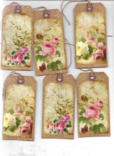 12~ROMANTIC TAGS     ROSES  PRIMITIVE GRUNGY TAGS