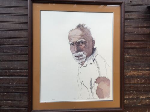 Framed Art Drawing Entitled MAN by Gayle Simpson 62/100