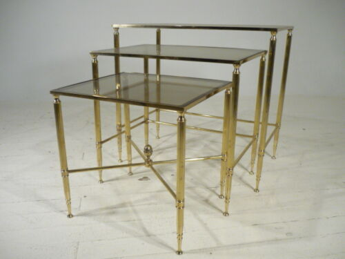 60's Vintage Hollywood Regency Brass 3pc Nesting Tables Maison Jansen Era