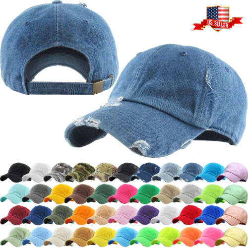 Solid Distressed Vintage Cotton Polo Style Baseball Ball Cap Hat 100% Cotton NEW <br/> KBETHOS Hats Since 2001 / New York, NY