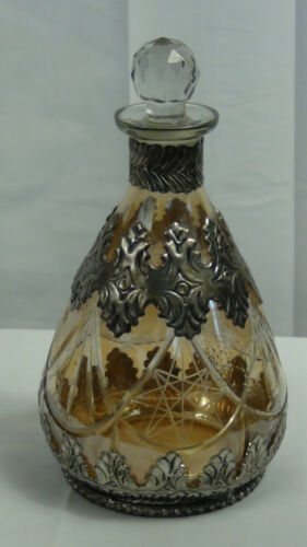 1900 GERMAN HEAVY CUT GLASS WITH A SILVER OVERLAY DECANTER