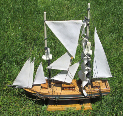 "Vintage Wooden Ship~15""X16""~*BLUE NOSE*~Nicely Detailed~Beautiful Mantle Replica"