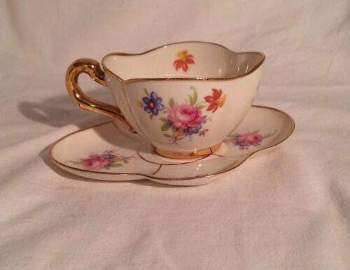 VINTAGE CALIFORNIA BELLEEK NAND PAINTED DEMI CUP & SAUCER