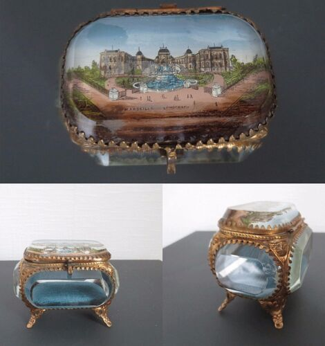 FRENCH BEVELED GLASS JEWERLY DRESSER BOX Napoléon French Empire 1900 rokoko