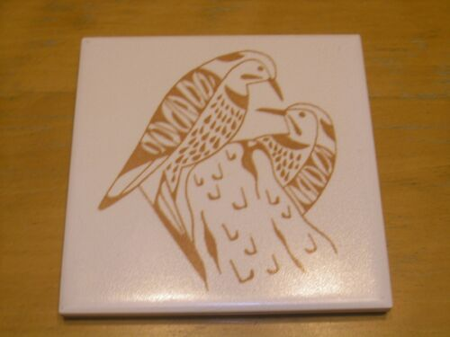 Vintage Tile Trivet Wall Hanging MOSAIC Made In USA Woodpeckers Tree Branch