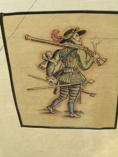 Antique Stained Glass German Military Lansquenet Foot Soldier Hand Painted