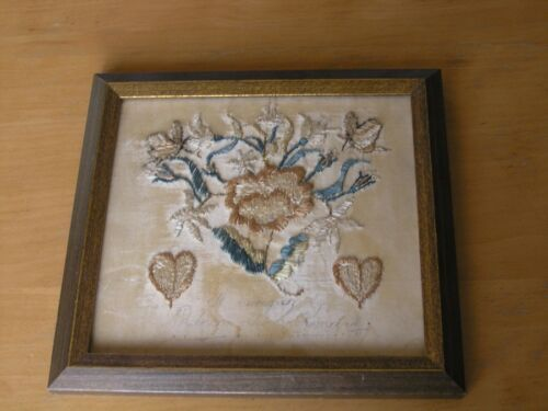 Great Antique 18th 19th C. Silk Embroidery Hearts Butterflies and Flowers Signed