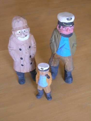 Group 3 Vintage Nautical Captain Fisherman Wooden hand carved Figurines Folk Art