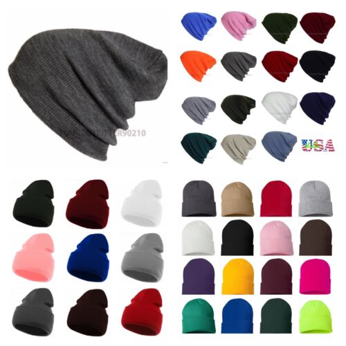 Men Women Knit Plain Beanie Cap Ski Hat Solid Casual Winter Hats Caps Black