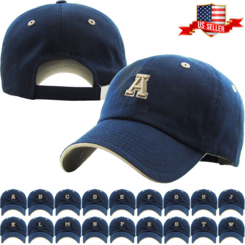 00a67e71268cf ABC Letter Embroidery INITIAL Navy Dad Hat Baseball Cap Adjustable