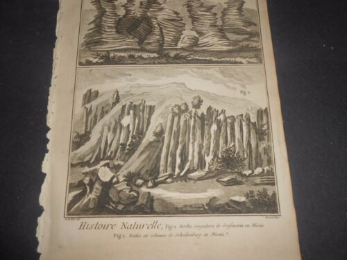 1751/72 ENGRAVING ROCK MINERALOGY CROSSE SECTION ALPS MOUNTAIN DIDEROT