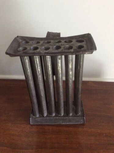 Primitive Vtg Antique Metal 1800s Rustic Handmade 12 Tube Candle Mold