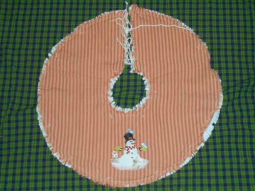 """WOODLAND SNOWMAN Embroidered Tree Skirt,23"""",Country, Prim, Winter"""