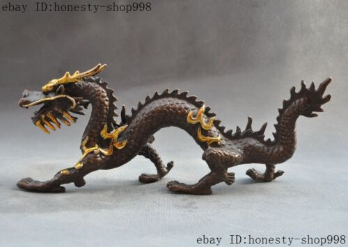 Old Chinese fengshui bronze gilt Auspicious zodiac dragon beast statue sculpture
