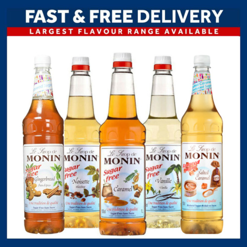 Monin Coffee Syrups SUGAR FREE 1 Litre Bottles - AS USED BY COSTA COFFEE <br/> 5 FLAVOURS ✔️ UK STOCK ✔️ ROYAL MAIL