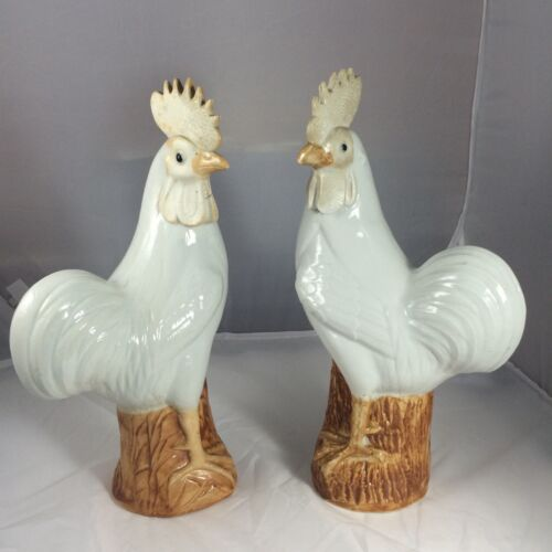 """12"""" Pair Of Antique Chinese Porcelain Chickens With Mark"""