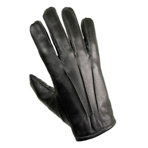 TOP QUALITY REAL SOFT LEATHER MENS DRIVING GLOVES GOATSKIN BLACK 3 LINES POLICE