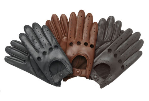 MEN'S CHAUFFEUR  REAL LAMBSKIN SHEEP NAPPA LEATHER CAR DRIVING GLOVES BLACK TAN  <br/> Over 2100 Pairs Sold