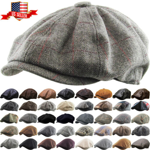 Men's Cabbie Newsboy and Ascot Plaid Ivy Button Hat Cap