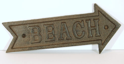 Olden Time Cast Iron Beach Arrow Sign Plaque From Atlantic Coast