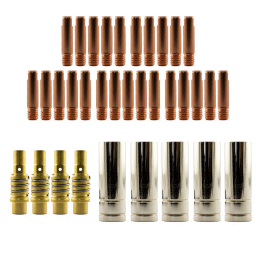 MIG Contact Tips CHROMIUM 25 pack M6 x 8mm x 0.9mm 0.9mm Binzel Style