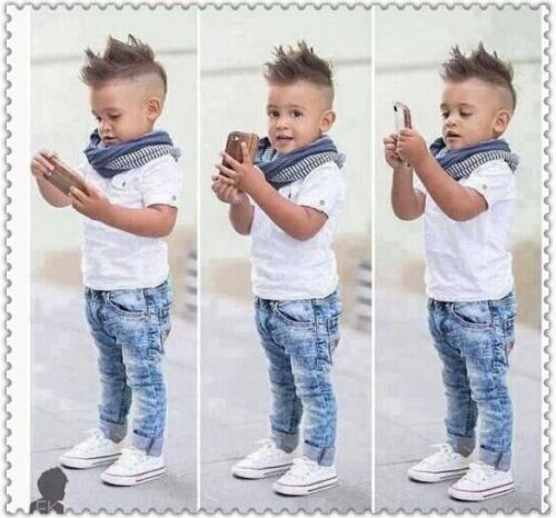 3PCS Toddler Baby Boys Tops T-shirt Scarf Denim Pants Set Kids Clothes Outfits