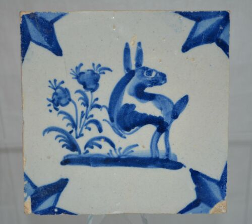 "Delft Tile Dutch 1800s ""Donkey"" with perimeter Star Pattern"