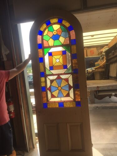Ad5 Antique 8 Foot Arch Top Stainglass Entrance Door