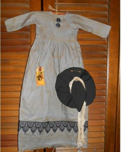 Prim WALL DRESS Primitive Decor NEW AGE WITCH w/ HAT Halloween,Grungy