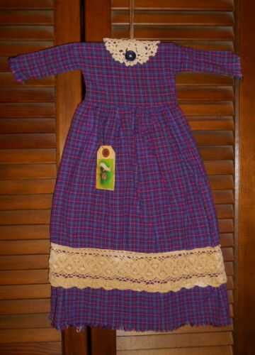 PURPLE PLAID cluny lace Grungy Prim WALL DRESS Primitive, Easter.Spring,Pegboard