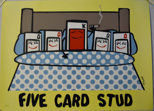 TODD GOLDMAN FIVE CARD STUD LITHOGRAPH LOW BROW SIGNED #102/350 W/COA