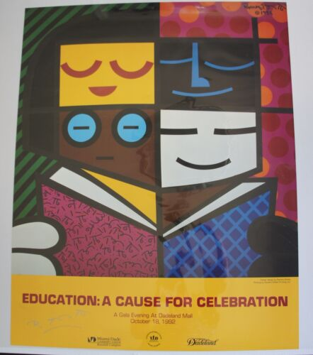 ROMERO BRITTO POSTER:  EDUCATION: A CAUSE FOR CELEB  * HAND SIGNED BY R. BRITTO