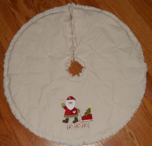 "HO HO HO SANTA Embroidered Tree Skirt,24"",Christmas,Country, Prim, Winter"
