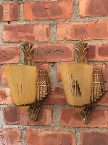 Superb Pair Of Circa 1930's Art Deco Slip Shade Wall Sconces. Cast Bronze Mounts