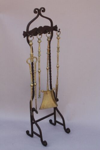 1920s Gold Tone Spanish Revival Fire Tool Set Antique Fireplace Vintage (9585)