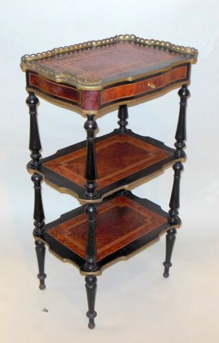 Suberb Antique Etagere Music Shelf Amboyna Burlwood Marquetry Inlay Victorian