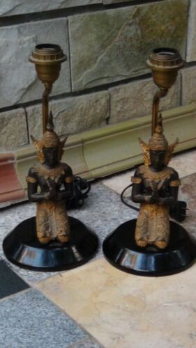 PAIR ANTIQUE ASIAN THAI FIGURAL GILT METAL TABLE LAMPS
