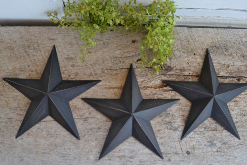 "Set of 3 ~  8"" BLACK BARN STARS Metal Tin  Primitive Country"