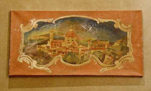 Incredible Early 1900s Architectural European Oil Painting