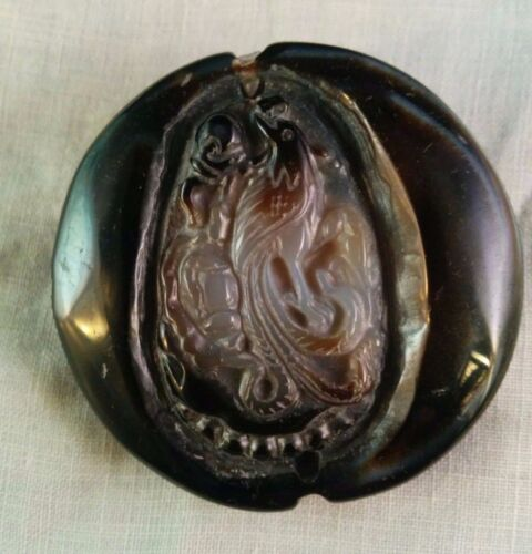 Beautiful Carved Agate Double Sided Pendant. Bird & Calendar?
